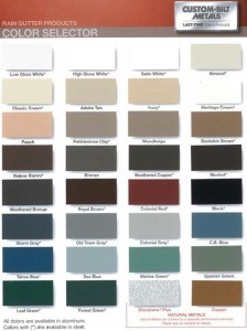 Rain Gutter Color Chart